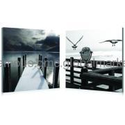 Seascape with Bridge Canvas Fine Art Prints