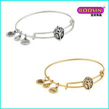 New Hot Selling Custom Zinc Alloy Charm Brass Wire Bangle