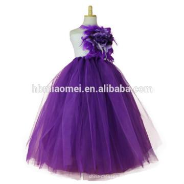 2017 novo design princesa tutu vestido handmade vestido de baile até o chão floral vestido de tutu inchado para meninas