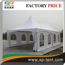 High-Peak-Spanndach-Zelt 5x10m für Events (zwei 5m mal 5m weiße High-Peak-Rahmenzelte nebeneinander)