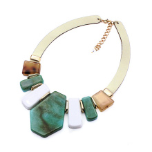 Wide leather chain collar jewelry for women large acrylic bohemian statement necklace