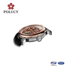 Reloj de pulsera mecánico de cuero negro clásico Tourbillion para hombre mecánico