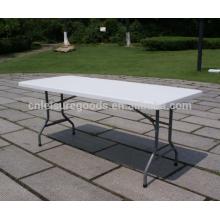 Белый пластиковый прямоугольный открытый складной стол Белый пластиковый прямоугольный напольный складной столик