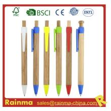 Caneta de bolinha de bambu para artigos de papelaria ecológicos