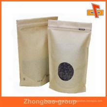 Laminado material stand up papel kraft sacos fechamento fechado zip para café