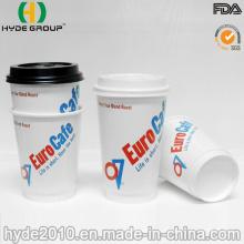 Copo de papel de café quente de parede dupla com tampa