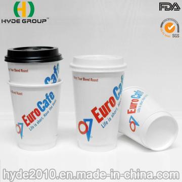 Doppelwand heißen Kaffee Pappbecher mit Deckel