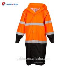 Exterior 150-Denier poliéster Oxford tela con revestimiento de PU amarillo alta visibilidad trabajo de seguridad chaqueta reflexiva al por mayor en línea