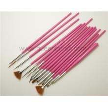 Fábrica de clavos suministros 15PCS Plastic Handle Nail Art Brushes