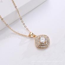 Cadena de cobre colgante de circón de oro 18K collar