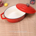 raw material cast iron enamel casserole-red and white