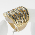 Fashion metal alloy classic full rhinestone ring female punk golden ring wholesale