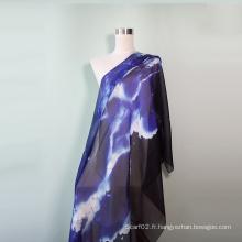 Echarpe en soie bleue du soir