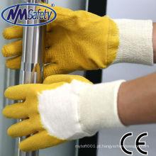 NMSAFETY luz jardim trabalho uso forro de algodão com 3/4 de látex amarelo shell luz luvas de trabalho