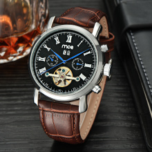 luxury automatic skeleton dress mens watch