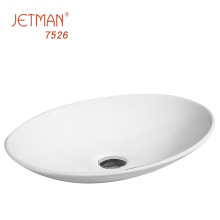 JM7526 505*355*95 White Oval Ceramic Countertop Art Basin Thin Side Art Basin Sink