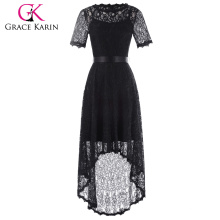 Grace Karin de manga corta de cuello redondo Alto-Bajo vestido de noche de encaje negro 8 Tamaño GK001071-1