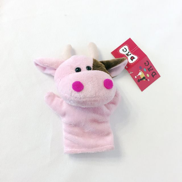 pink cow finger puppet
