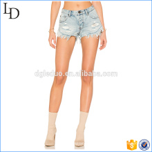 Light color of washed in bulk denim shorts fashion style for women
