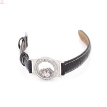 Personalisierte Teen Leder Floating Medaillon Uhr, Leder Wickelarmband Medaillon
