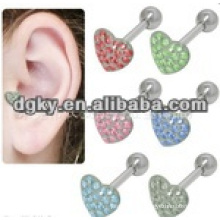 Fashion heart shape 316L embouts d'oreille en acier chirurgical