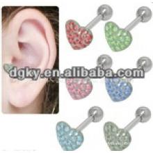 Fashion heart shape 316L embouts d'oreille en acier chirurgical
