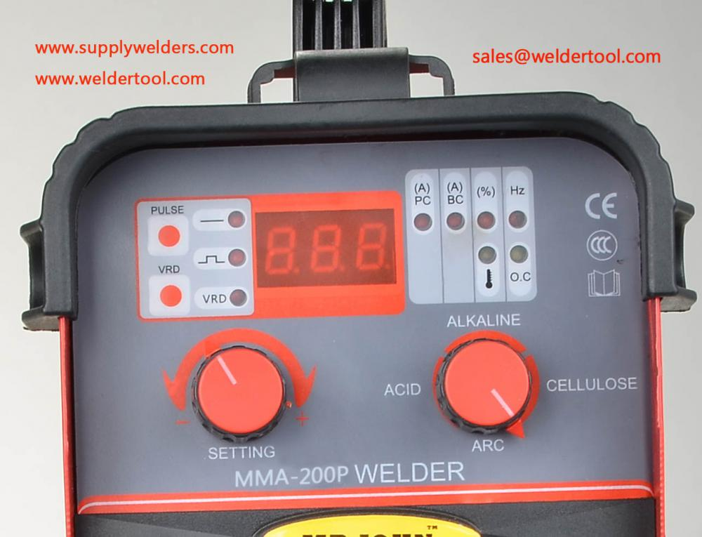 200A cellouse mma pulsed arc welding machine,220V 1phase input,Vertical Weld,overhead Weld,fillet Weld