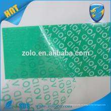 Película china xxx Custom Anti-Counterfeiting Tamper-Proof garantía VOID Seal Stickers, cinta autoadhesiva