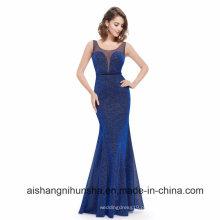 Elegante longo azul royal sexy vestido sem mangas de baile
