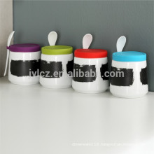chalk board canister with spoon and silicone lid