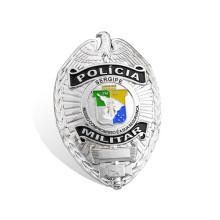 A polícia de chapeamento de prata Badge o emblema feito sob encomenda do exército (GZHY-BADGE-010)
