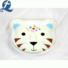 Customized cartoon cute leopard face shape ceramic cartoon pet feeding bowl