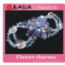Braceletes abertos grandes de cristal Sparkling do zircão da flor do projeto