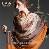 Hand painted silk gradient color scarf shawl women yellow