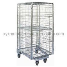 One Extral Wire Shelving 4 Sides Full Security Roll Pallet Mesh Container