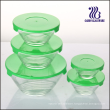 5PCS Glass Bowl Set with Multi-Line Designs (GB1408U)