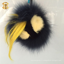 Black Color Real Fox Fur Accessoire Animal Leather Face Fur Pom Pom Bag Charm