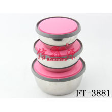 Stainless Steel Color Plastic Lid Bowl (FT-3881)