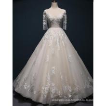 Half Sleeve Lace Floor Length Bridal Dress Wedding Gown