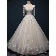Meia manga rendas até o chão vestido de noiva vestido de noiva