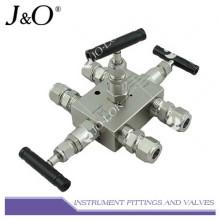 Colector de válvula de instrumentación de acero inoxidable de 3 válvulas múltiples