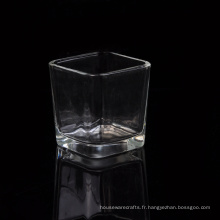 Gros porte-bougie en verre carré votif avec fond épais