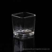 Suporte de vela de vidro votiva quadrada por atacado com fundo grosso