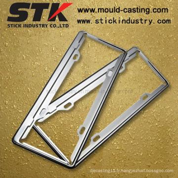 Cadre de plaque d'immatriculation en alliage de zinc pour accessoires de voiture (LP002)