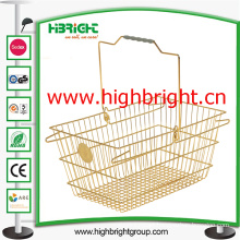 Gloden Color Finishing Wire Shopping Hand Basket for Luxury Store