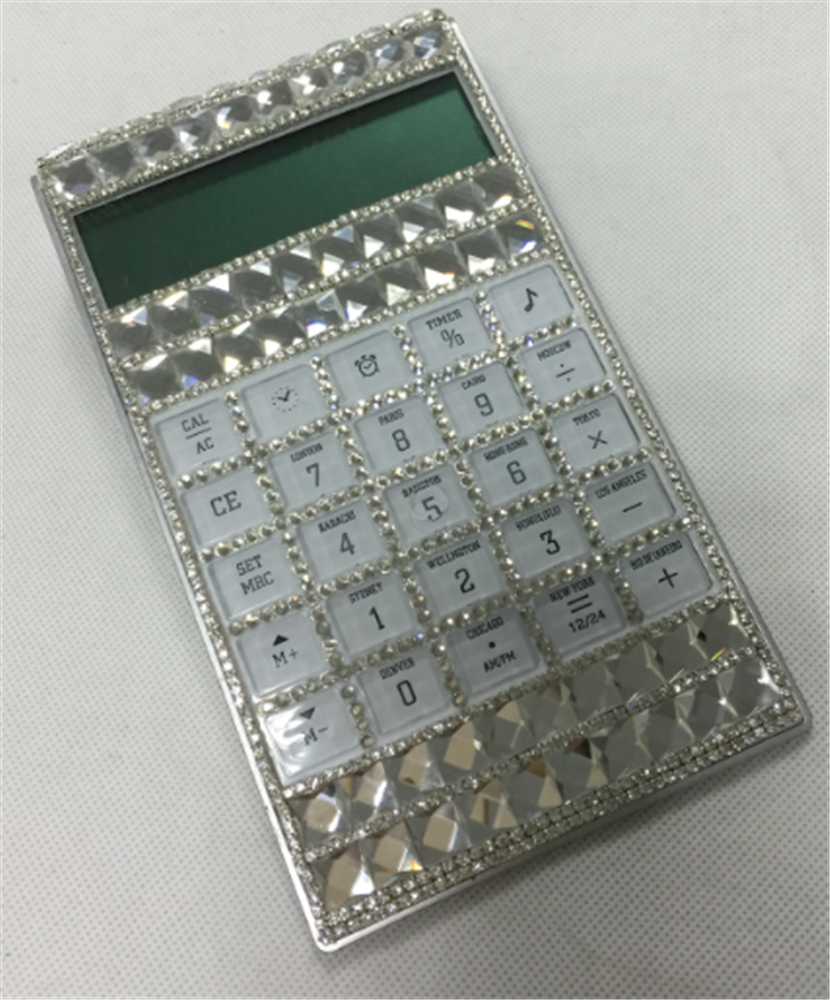 12 Digits Colorful Crystal Calculator with Decorative Jewel