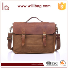 High Grade Crazy Horse Leather Canvas Bags For Men Messenger Bag