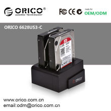 "ORICO 6628US3-C 2bay 2.5""&3.5""SATA HDD docking station/ USB 3.0 HDD clone duplicator/ Hard Drive caddy"