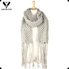 2016 Женщин длинный Fringe крючком вязать шарф