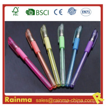 Пластиковая черная ручка с цветными чернилами